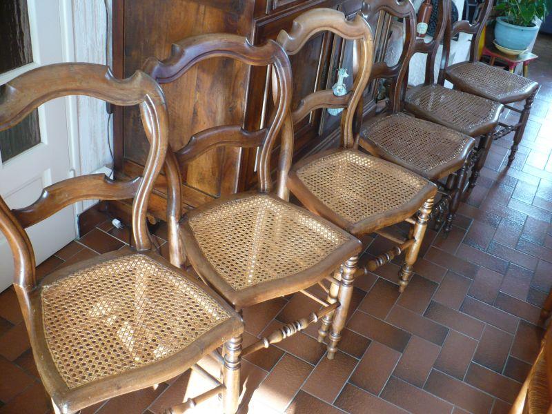 6 chaises cann es de salon d 39 poque de 1920. Black Bedroom Furniture Sets. Home Design Ideas