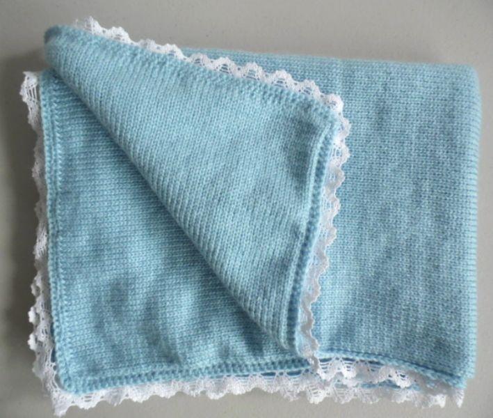 couverture b b en laine tricot fait main. Black Bedroom Furniture Sets. Home Design Ideas